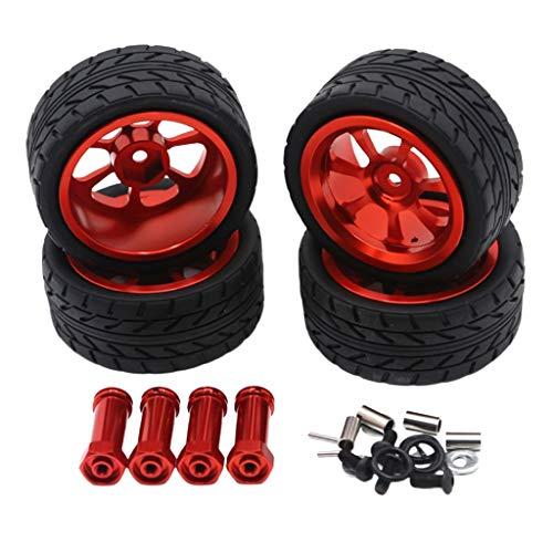 Iycorish 65Mm Leicht Metall Rad Reifen Reifen mit VerläNgertem 12Mm Combiner für Wltoys 144001 A959 A949 A969 A959B RC Auto Teile, Rot
