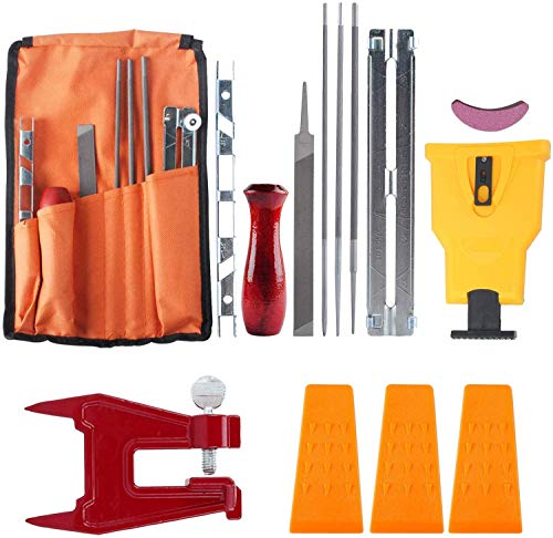 Podoy Chainsaw Sharpener File Kit, Compatible with Sharpening Filing Chainsaws & Other Blades, Include 5/32 3/16 & 7/32 Inch Files, Sharpener Stone Tools, Chainsaw Stump Vise, Felling Wedges