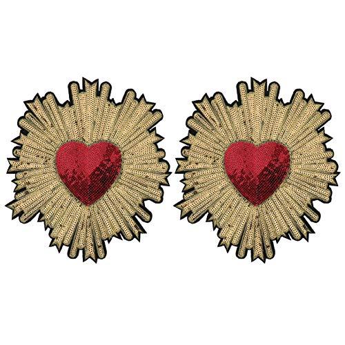 Supvox 2 parches bordados de lentejuelas con forma de corazón para coser en la ropa, para manualidades, mochilas y zapatos