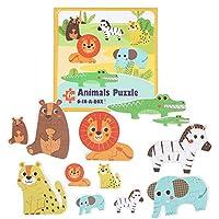 ジグソーパズル、無毒な教育用木製パズル、3歳以上の子供を学ぶ幼児の男の子と女の子の子供のためのバリのない動物のパターン(Forest animals)