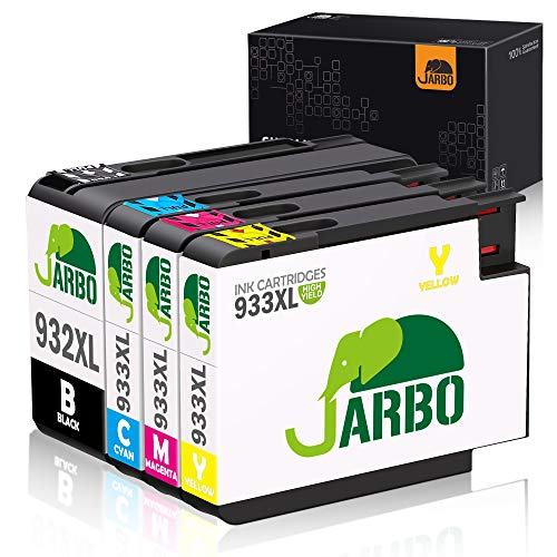 JARBO Compatible Ink Cartridges Replacement for HP 932XL 933XL, 4 Packs, Compatible with HP Officejet 6700 6600 6100 7110 7610 7612 Printer (1 Black 1 Cyan 1 Magenta 1 Yellow)