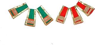 Aditri Creation Ganesh duppata Set of 6 red & Green