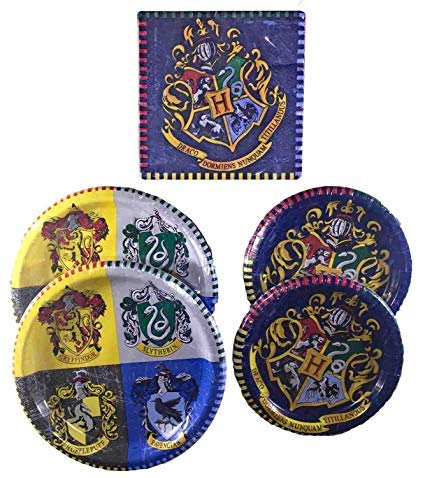 Harry Potter Party Supplies Childrens Birthday Party Tableware Pack And Adults For 16 Bundle - Includes 16 Dinner Plates, 16 Dessert Plates, and 16 Lu (Original Version)