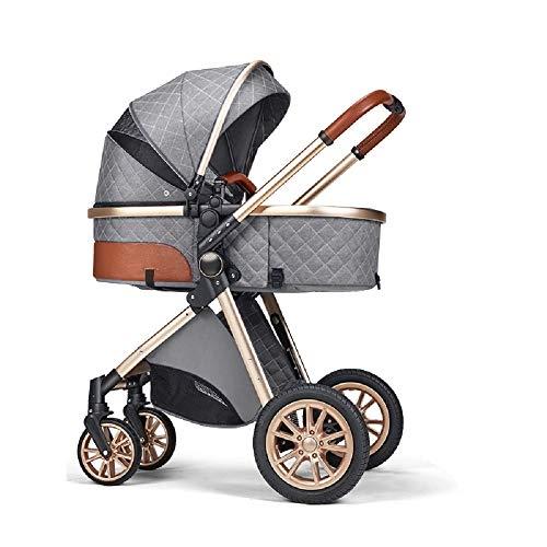 B.Childhood Baby Strollers Set Foldable Luxury Newborn Infant Travel System High Landscape, Grey