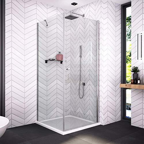 Bath-mann 80 x 80 cm (Höhe: 185 cm) Eckeinstieg Duschkabine Duschabtrennung Pendeltür Duschwand mit Seitenwand | 80cm Schwingtür Duschwand Tür + 80cm Seitenwand (6mm Sicherheitsglas Nano Glas)