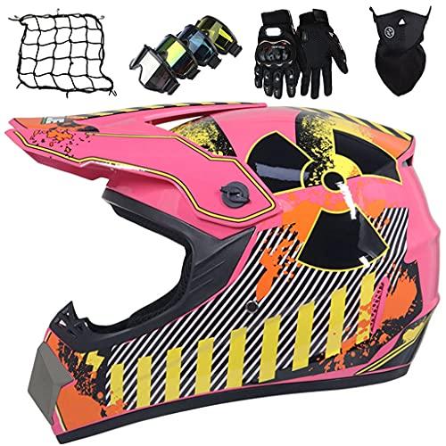 Casco de Moto Niños, Casco de Moto Cross Todoterreno Rosa, Conjunto de Casco de Motocross Niñas con Guantes/Gafas/Máscara/Red Bungy