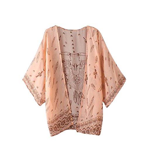 Tongshi Las mujeres de Boho impresa floja de la gasa del mantón kimono Cardigan Tops Cubrir la blusa ( EU 38(Asia L), rosado)