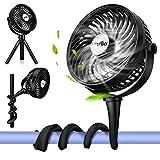 Battery Operated Baby Stroller Fan, 2 Flexible Tripod Clip On Battery Desk Fan with 3 Speeds, Office Fan for Desk, Rotatable Handheld Personal Fan with Clip for Car Seat Crib Bike Treadmill