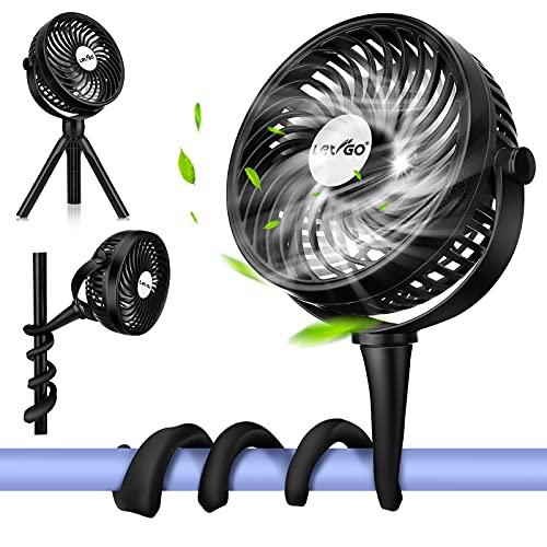 LETIGO - Ventilador flexible con clip para trípode con 3 velocidades y ventilador personal giratorio para asiento de coche, cuna, bicicleta, cinta de correr (negro)