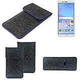 K-S-Trade Handy Schutz Hülle Für Huawei Y6 (2018) Dual-SIM Schutzhülle Handyhülle Filztasche Pouch Tasche Hülle Sleeve Filzhülle Dunkelgrau, Blauer Rand