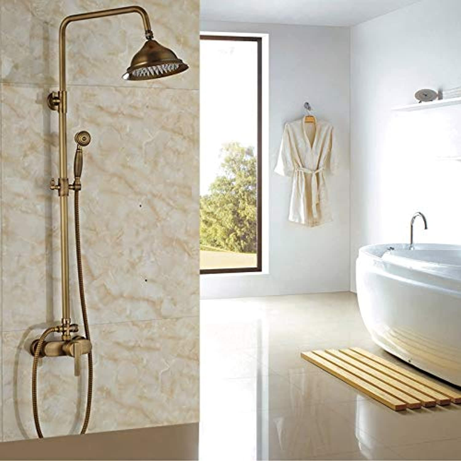 New Arrival Antique Shower Set Faucet Mixer Tap+Single Handle Shower System Wall Mounted,Chocolate