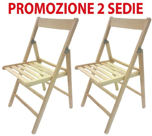 Savino Fiorenzo 2 sedie Pieghevoli in Legno Naturale richiudibili