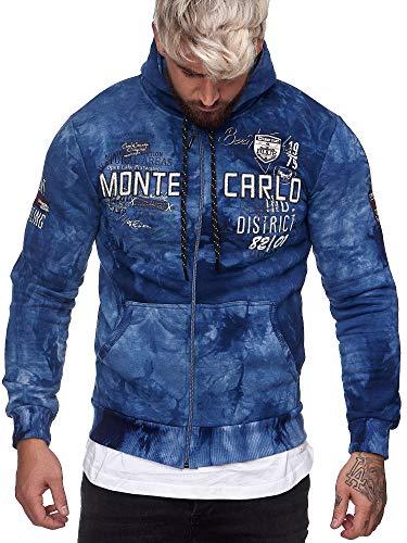 OneRedox Herren Pullover Sweatshirt Longsleeve Langarm Hoodie Modell H-706 Blau M