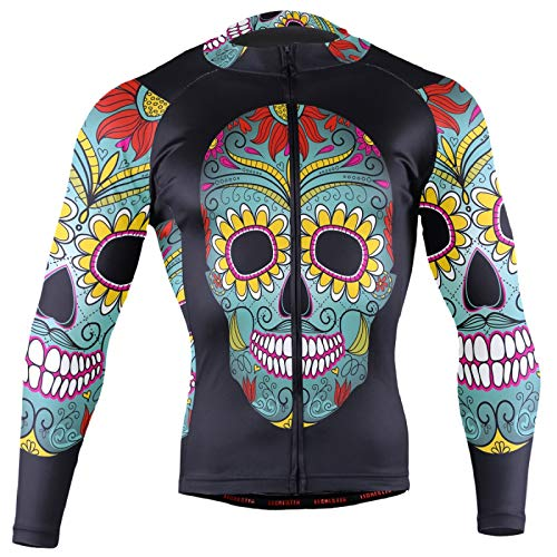 Floral Mexico Sugar Skull On Black Men Cycling Jersey Riding Shirts Long Sleeve Road Bike Outfit Icycle Clothes Quick Dry Motocross Jacket Full Zipper(XL)
