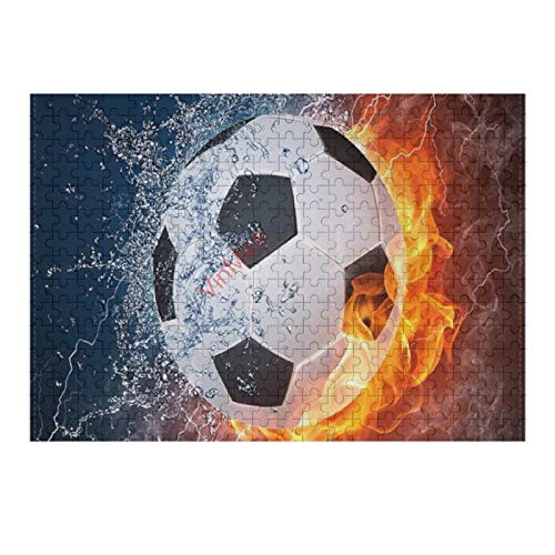 VinMea 500 Piece Wooden Jigsaw Puzzle Football Flame Jigsaw Puzzles Fun Game Toys Birthday Gifts