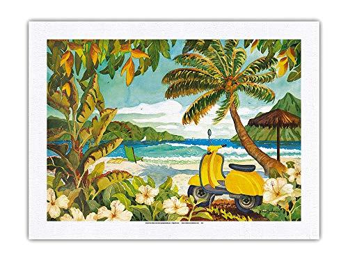 Scooter amarillo en el paraíso - Tropical Beach Ocean View - Hawaii - Islas hawaianas - De una pintura original de acuarela por Robin Wethe Altman - 100% seda pura Dupioni impresión tela 61 x 81 cm