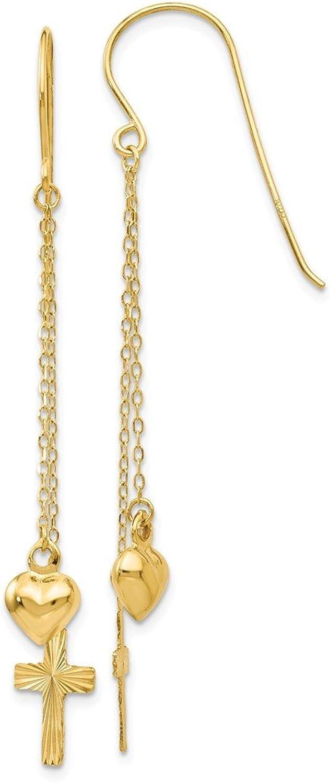 Beautiful Yellow gold 14K Yellowgold 14K Ropa Chain Puffed Heart & D C Cross Dangle Earrings