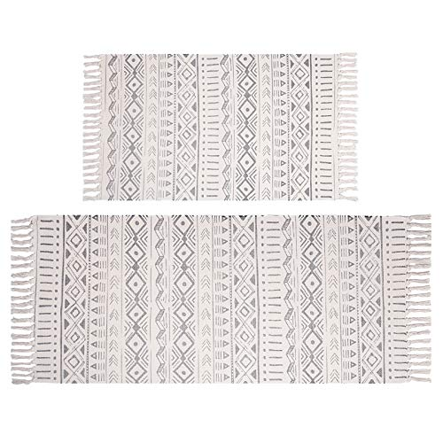Pauwer Cotton Area Rug Set 2 Piece 4.2'x2'+3'x2' Hand Woven Cotton Rugs with Tassel Washable Cotton Throw Rug Runner for Kitchen, Living Room, Bedroom