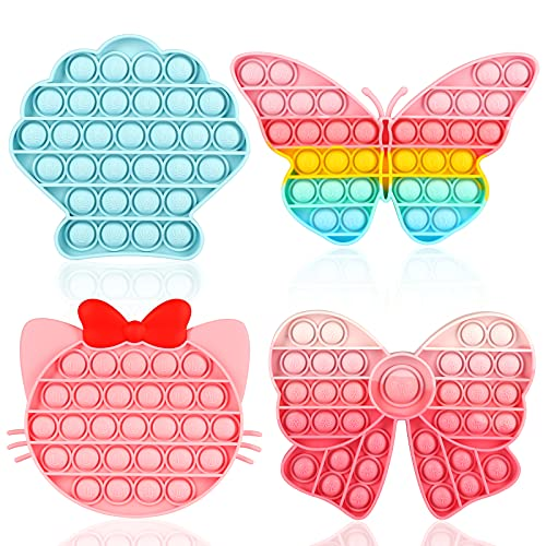 ASONA Girls Gift Push Bubble Fidget Toy 4 Packs with Pop Sound, Rainbow Butterfly Pink Kitten Bow Blue Seashell Popper Popping Autism Sensory Toys Sets for Toddlers Kids for Car Travel, Keep Clam Busy