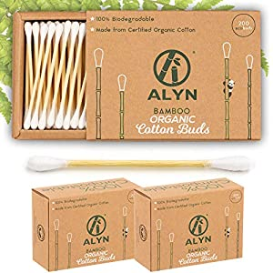 Alyn Bamboo Cotton Wool Buds | Pack of 2 (400 Pieces) | 100% Biodegradable GOTS Certified Organic Wooden Ear Swabs | Sustainable & Vegan Qtips| Plastic Free Environmentally Clean Packaging 4