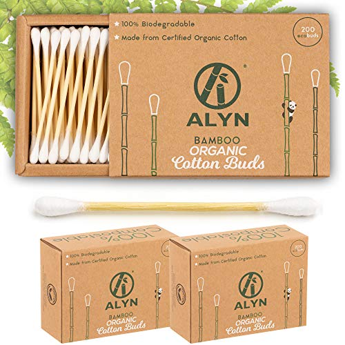Alyn Bamboo Cotton Buds | Pack of 2 (400 Pieces) | Organic GOTS Certified Wool | 100% Biodegradable Wooden Ear Swabs | Sustainable & Vegan Qtips | Plastic Free Environmentally Clean Packaging