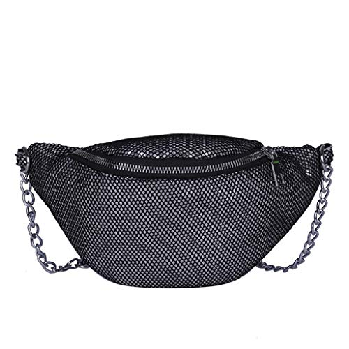 Amazing Deal Meidexian888 Unisex Fashion Sequin Grid Chest Bag, Zipper Opening Crossbody Bag, for Ou...