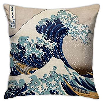 Quotes Japanese Kanagawa Throw Pillow Covers Decorative 18x18 Inch Pillowcase Square Cushion Cases for Home Sofa Bedroom Livingroom