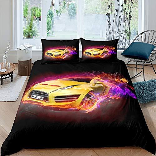 Juego de ropa de cama de coche de carreras Speed Sports Car Funda de edredón para niños, adolescentes y adultos, funda de edredón de deporte extremo, tamaño king, color dorado y negro