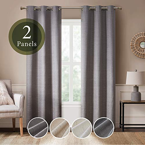 Hyde Lane Modern Farmhouse Curtains for Living Room | Rustic Dining Room Decor | Grasscloth Faux Linen | Room Darkening Grommet Top Window Treatments | Taupe 40x95 Inches - 2 Panels