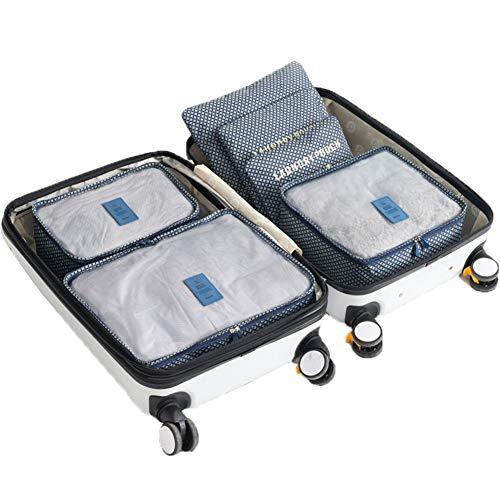 Packing Cubes Mesh Travel Organizadores de Equipaje 6 Piezas para Maleta Mochila PCB-008,Bluestar