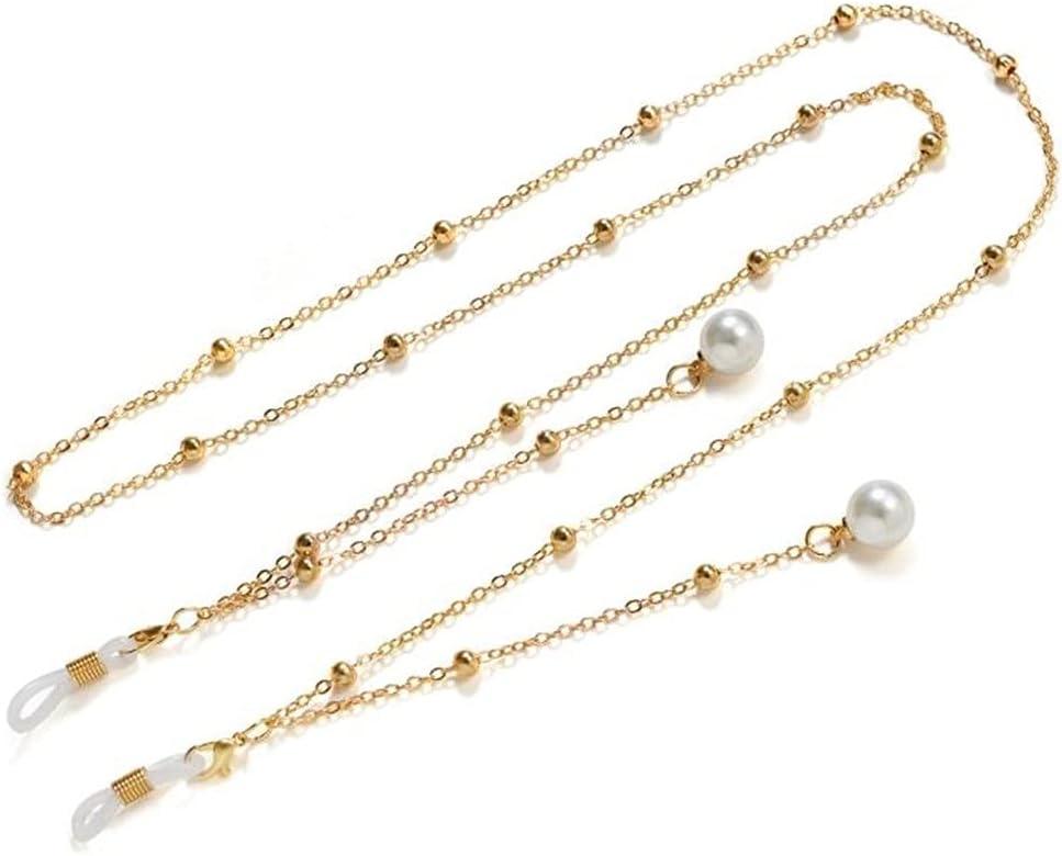 CFSNCM Imitation Pearl Pendant Sunglasses Chains Bead Chain Women Lanyard Glasses Accessories Hold Straps Cords (Color : Gold, Size : Length-70CM)