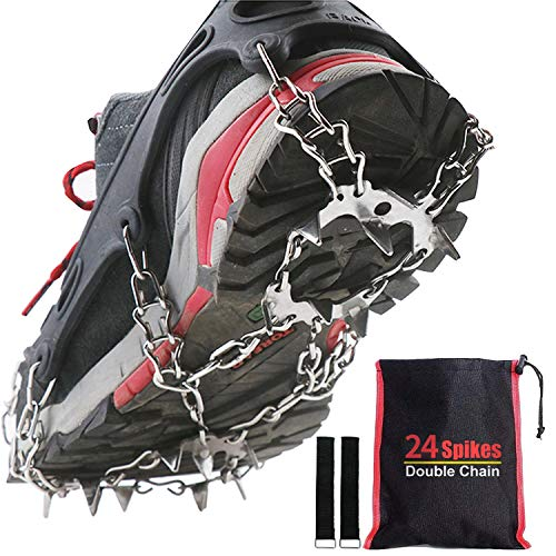 KEEPBLANCE Upgraded 24 Spikes Ice Grips Crampons Traction Cleats Safe Protect for Fishing Walking Climbing or Hiking on Snow and Ice  M