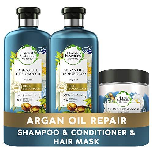 Herbal Essences Bio Renew Arganöl von Marokko Hair Repair Treatment für trockenes, geschädigtes Haar, ein Arganöl-Shampoo, Conditioner und Haarmaske, ein komplettes Haarpflege-Routine