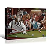 Laoife Pokers Dogs (or Dogs Playing Cards) by C. M. Coolidge Artwork Print on Canvas,Dogs Playing Terms of Pool/Snock Canvas Wall Art Decor for House Wall-40x30 Inches