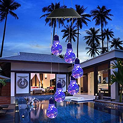 Pinshion Solar Wind Chime Color Changing Solar Mobile Light, Wind Chime Colorful Bulb LED Wind Mobile Portable for Patio Yard Garden Home Waterproof Outdoor Decorative Romantic