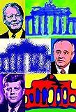 MagentizeYourLife Berlin - Brandenburger Tor - Willy Brand - Kennedy - Gorbatschow - Kühlschrankmagnet Edition Pop Art Städte Reisen Souvenir 8x5,5cm