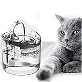 Lacyie Trinkbrunnen für Katzen und Hunde, 1.8L Automatisch Katzenbrunnen mit 2 Intelligente Wassermodi,Aktivkohlefilter,Pumpe,Wasserhahn,LED Licht Super Leise rutschfest Wasserspender für Haustiere