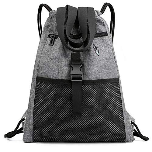 N-B Drawstring Bag Gymwith Pockets Sports Sackwith Handle Drawstring Backpack Travelfor Men Women- Grey