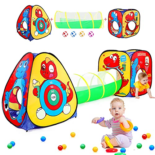 3pc Dinosaur Kids Play Tent with Tunnel and Ball Pit for Kids, Easy Pop Up Tent for Boys and Girls, Foldable Playhouse Tent with Dart Board and 4 Sticky Balls, Toys for Toddlers Indoor & Outdoor Use