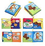Luckyrainbow, Baby-Stoffbuch für Kleinkinder, Intelligenz, Kognition, Lerntiere, weiches Gemüse, Obst, Fahrzeuge, Cartoon, frühes Lernbücher, Spielzeug (zufällige Auswahl).