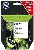 HP 301 Pack de 3 Cartouches d'Encre, 2 Noires et 1 Trois Couleurs Authentiques (E5Y87EE)