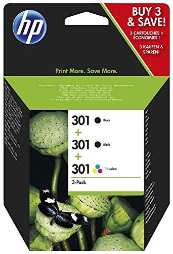 HP 301 pack de 3 cartouches d'encre, 2 Noires et 1 Trois Couleurs (Cyan, Magenta, Jaune) Authentiques (E5Y87EE) pour imprimantes HP DeskJet, HP ENVY et HP OfficeJet