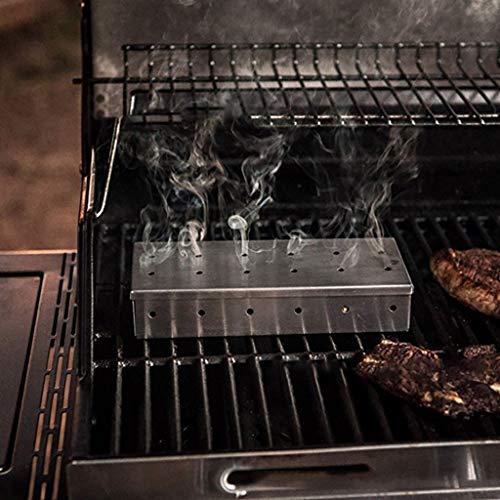 Hukz 2 Stücke Edelstahl BBQ Räucherbox Smoker, Smokerbox für Gasgrill, Holzkohlegrill, Elektrogrill und Kugelgrill Aromabox, Gasgrill Grillzubehör Grill Räucherchips Raucharomen Grillen Rauch Box