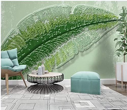 WH-PORP 3D behang kleine verse vintage munt groene blad plant driedimensionale reliëf muur 250cmx175cm