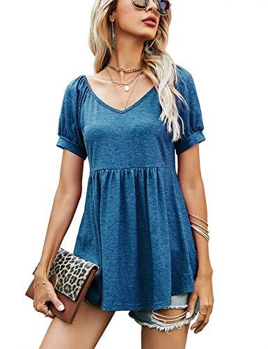 T-Shirt Damen V-Ausschnitt, Falten Tunika Oberteile, T-Shirt Damen V-Ausschnitt Tunika Langam/Kurzarm Tops(Blue, L)