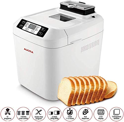 Home Oven Bread Machine Blender Automatic Gluten Free Menu Bread Machine 2LB, 12 Preset Functions FastBake Beginner Friendly Bakery Bread Maker 2LB, 550W Waffle Sandwich Whisk