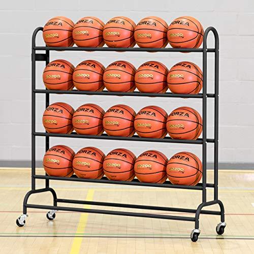 FORZA Basketball Ballregal aus Stahlrohr - der perfekte Ballwagen für Sporthallen, Schulen und Sportsclubs - EIN Sportsgeräte-Regal - 20 oder 40 Bälle Kapazität (20 Bälle Kapizität)