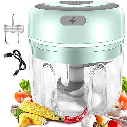Nimomo Picadora de ajo eléctrica, Mini licuadora eléctrica del ajo del procesador de Alimentos del Mini Interruptor de la Comida(Verde)