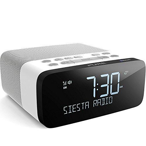 Pure Siesta Rise S Bluetooth Radiowecker (Digitalradio mit CrystalVue-Display, Bluetooth, USB, AUX, Weckfunktion, Sleep-Timer, DAB/DAB+ und UKW, 20 Senderspeicherplätze), Polar