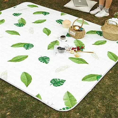 Pkfinrd Wind mat outdoor picknick mat kamer picknick deken tent tapijt cartoon picknick deken waterdichte ondersteuning draagbare vouwen outdoor tapijt tuin strand mat 140x200cm Cool green leaves